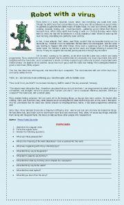 English Worksheet: ROBOT WITH A VIRUS