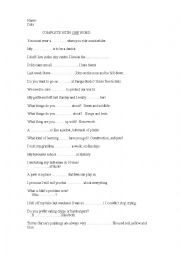 English Worksheet: complete with one wrod