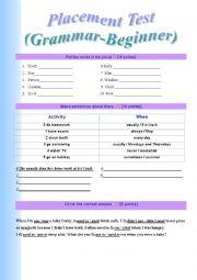 English Worksheet: Placement Test Grammar-Beginner