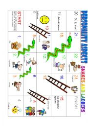 English Worksheet: PERSONALITY ASPECTS (Snakes and ladders game)