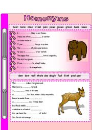 English Worksheet: Homonyms 1