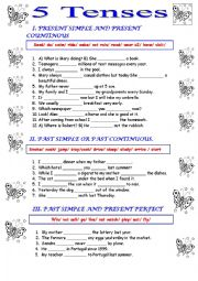English Worksheet: Present and past simple present and past continuous and present perfect