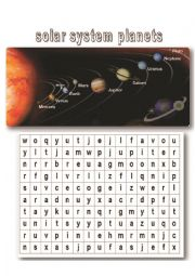 English Worksheet: names of planets