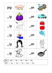 Phonics - 3 letter words (CVC) - Writing -IG / -AN