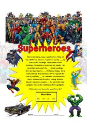English Worksheet: Superheroes