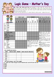 English Worksheet: Logic game (37th) - Mother´s Day *** for elementary ss *** with key *** fully editable *** B&W