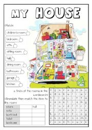 English Worksheet: ROOMS AND FURNITURE