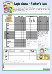 Logic game (38th) - Father´s Day *** for elementary ss *** with key *** fully editable *** B&W