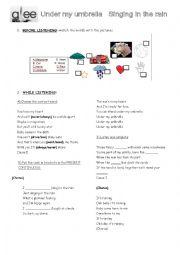 English Worksheet: Singing in the rain + Under my umbrella