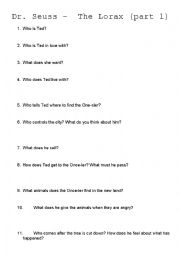 Dr Seuss The Lorax Part 1 Questions Esl Worksheet By Fickle