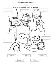 english worksheets the simpsons family. Black Bedroom Furniture Sets. Home Design Ideas