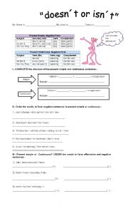 English Worksheet: present simple and continuous negative