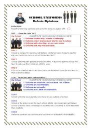 English Worksheet: School Uniform Debate Opinions