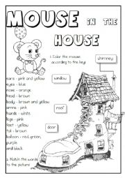 English Worksheet: ALL IN 1 - body, house, rooms, colours