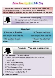 English Worksheet: Crime investigation: Role Play