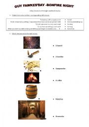 English Worksheet: THE GUNPOWDER PLOT- vocabulary sheet