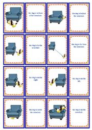 English Worksheet: Prepositions - Memory Game - 16 pairs (3 pages) *editable