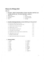 Diary of a Wimpy Kid - Worksheet for pages 1 - 5