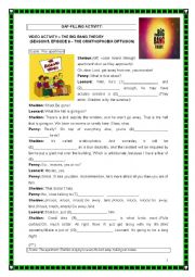 English Worksheet: VIDEO ACTIVITY - THE BIG BANG THEORY - SHELDON VERSUS A BIRD