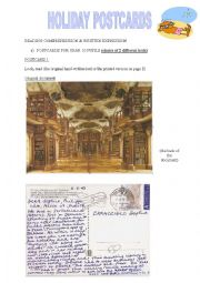 English Worksheet: HOLIDAY POSTCARDS (two levels)