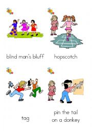 English Worksheet: What are they playing? games flash cards 1-12 of 24