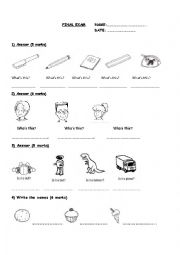 English Worksheet: Test - Activities - School Objects - Colours - Numbers - Answer simple question - Happy Street 1