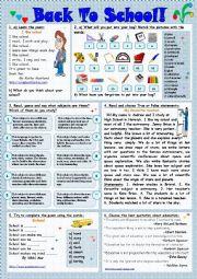 English Worksheet: Back to school!