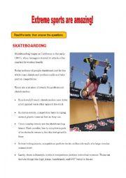 English Worksheet: Extreme sports are amazing!