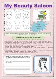 English Worksheet: MY BEAUTY SALOON READING AND WRITING