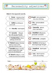 English Worksheet: Match the opposite words about personality adjectives