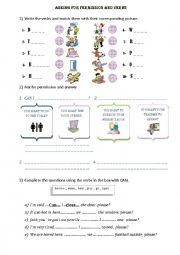 asking for permission with can and verbs