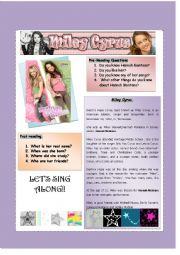 English Worksheet: Hannah Montana Reading Comprehension