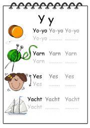 Alphabet Writing Worksheet Y