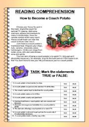 English Worksheet: READING COMPREHENSION - How to Become a Couch Potato