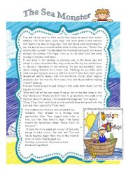 English Worksheet: THE LAKE MONSTER