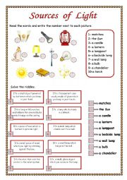 Sources Of Light Worksheet Free Worksheets Library