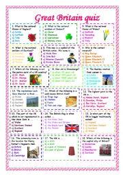 English Worksheet: Great Britain quiz