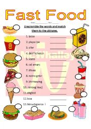 English worksheet: Fast Food