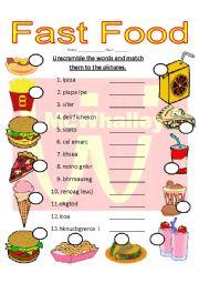 English Worksheet: Fast Food