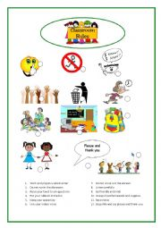 English Worksheet: School rules and social behaviour