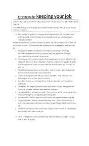 English Worksheet: Strategies for keeping your job - Curriculum Vitae