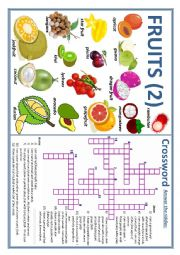 english worksheets fruits 2 crossword and riddle. Black Bedroom Furniture Sets. Home Design Ideas