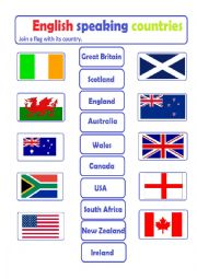 English Worksheet: English Speaking Countries - join a flag to its country