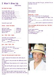 English Worksheet: Having fun with music : Song :