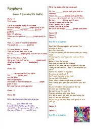 Working with verb tenses, adjectives and error correction : Song - Payphone (Maroon 5) - with B&W copy and answer sheet