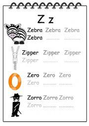 Alphabet Writing Worksheet Z
