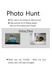 English Worksheet: Photo Hunt (Scavenger Hunt, Step 1)