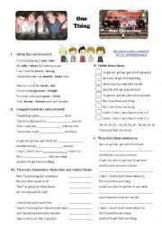 English Worksheet: Song: One Thing (One Direction)