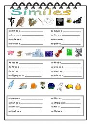 English Worksheet: Comparisons/Similes