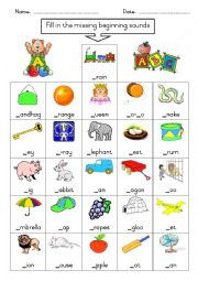 English Worksheet: Phonics - fill in the missing initial sound